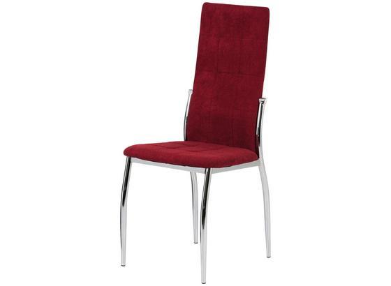 Stolička So 4 Nohami Jesy - chrómová/červená, Moderný, kov/textil (45/100/48cm)