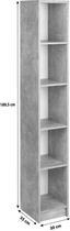 Regál 4-you New Yur06 - bílá/šedá, Moderní, kompozitní dřevo (30/189,5/34,6cm)