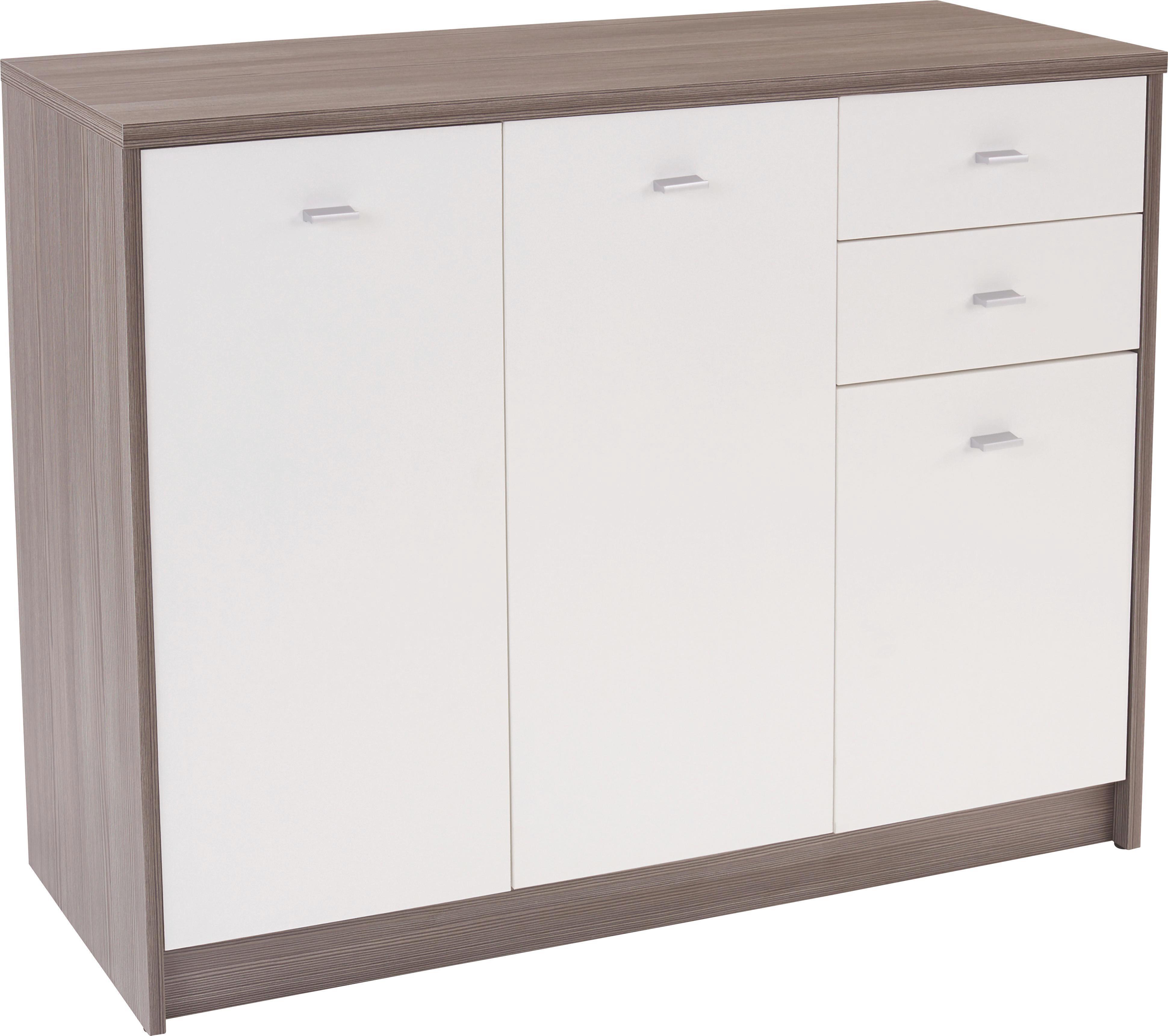 Komoda 4-you Yuk05 - biela/tmavohnedá, Moderný, drevený materiál (109,1/85,4/34,6cm)