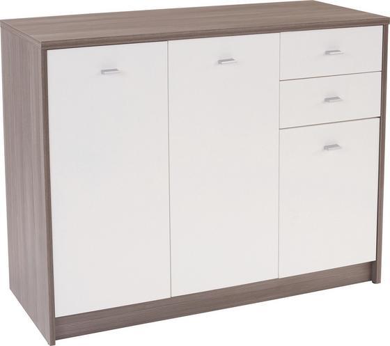 Komoda 4-you Yuk05 - bílá/tmavě hnědá, Moderní, dřevěný materiál (109,1/85,4/34,6cm)