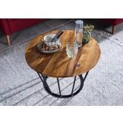 Couchtisch Aus Echtholz Rund, Sheesham Massiv + Eisen - Sheeshamfarben/Schwarz, Design, Holz/Metall (62/62/40cm) - Livetastic