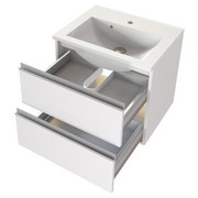 Badmöbel-Set 2-Tlg. inkl. Led Arezzo B: 60 cm, Weiß - Weiß, Basics, Holzwerkstoff/Stein (60cm) - MID.YOU