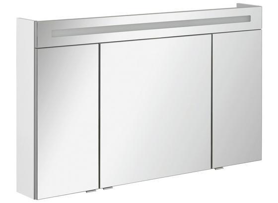 Spiegelschrank mit Türdämpfer + Led B.clever B: 120cm Weiß - Weiß, MODERN, Glas/Holzwerkstoff (120/71/16cm) - Fackelmann