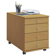 Rollcontainer Buche Dekor Lona Maxi 42x57x80 cm - Buchefarben, Basics, Holzwerkstoff/Kunststoff (42/57/80cm) - MID.YOU