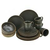 Kombiservice Rusty 16-teilig - Schwarz, Basics, Keramik (30/32/33cm)
