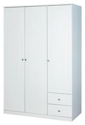 Dreitüriger Kleiderschrank in Weiß mit Knopfgriffen
