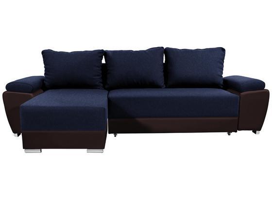 Sedací Souprava Milano - modrá/hnědá, Basics, textil/kůže (270/90/160cm)