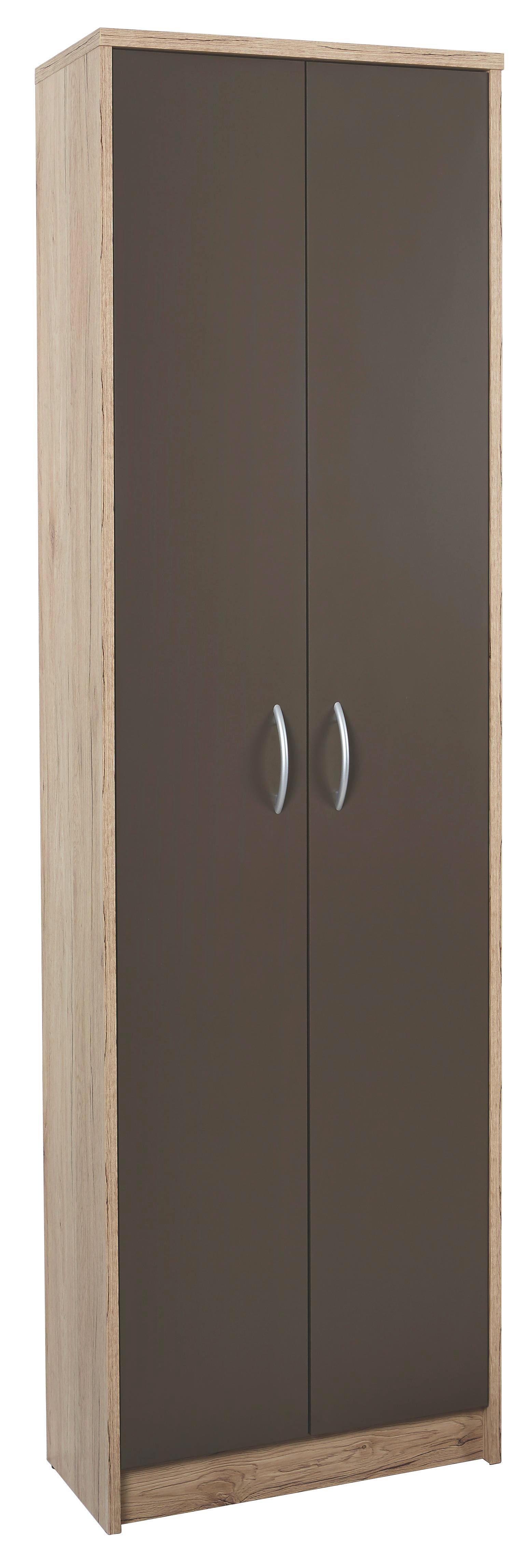Ruhásszekrény Iza - barna/tölgy színű, konvencionális, faanyagok (55/190/26cm)