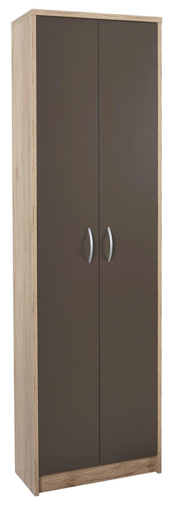 Skříň Šatní Iza - barvy dubu/hnědá, Konvenční, dřevěný materiál (55/190/26cm)