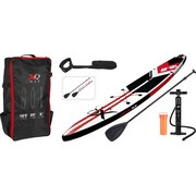 Stand Up Paddle Board Racing, 381x66x15cm - Rot/Schwarz, Basics, Kunststoff (381/66/15cm)