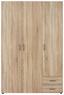 Skříň Šatní Base 3    *cenový Trhák* - barvy dubu, Konvenční, kompozitní dřevo (120/177/52cm)