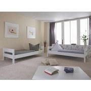Etagenbett Stefan 90x200 cm Buche Massiv - Weiß/Naturfarben, Design, Holz/Textil (90/200cm)