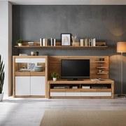 Wohnkombination Kashmir New 5 - Eichefarben/Weiß, MODERN, Holzwerkstoff (285/192/49cm) - James Wood