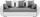Dreisitzer-sofa Faro - Chromfarben/Hellgrau, KONVENTIONELL, Holz/Textil (225/90/92cm)
