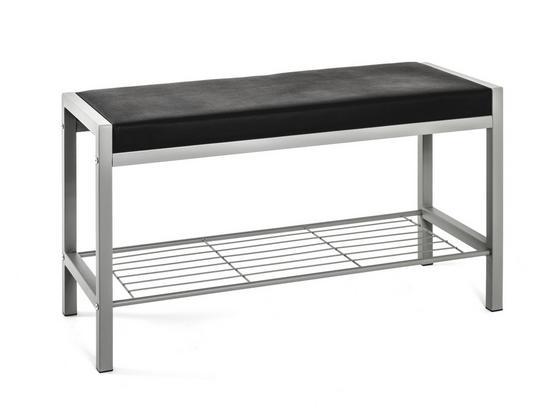 Garderobenbank Bench: B/H/T: ca. 80/48/32 cm - Alufarben/Schwarz, Basics, Metall (80/48/32cm)