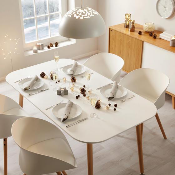 Jedálenský Stôl Anuk - biela/farby buku, Moderný, drevený materiál/drevo (160/75/90cm) - Modern Living