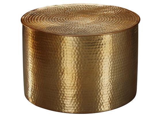 Runder Couchtisch Metall mit Ablage Rahi, Gold Dekor - Goldfarben, LIFESTYLE, Metall (61/61/40,5cm) - Livetastic