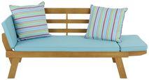 Gartenbank Holz 2-Sitzer mit Liegefunktion und Kissen - Blau/Akaziefarben, MODERN, Holz/Textil (198/78/68cm) - Greemotion