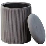 Hocker Salim Grau B: 35 cm - Grau, Basics, Holzwerkstoff/Textil (35/44/35cm)