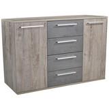 Komoda Malta - barvy dubu/tmavě šedá, Moderní, dřevěný materiál (150/90/38cm)