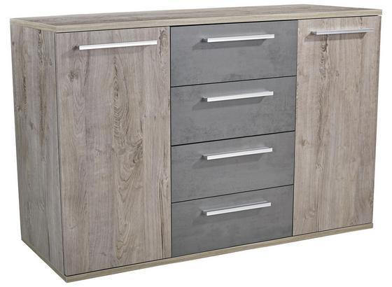 Komoda Malta - barvy dubu/tmavě šedá, Moderní, kompozitní dřevo (150/90/38cm)