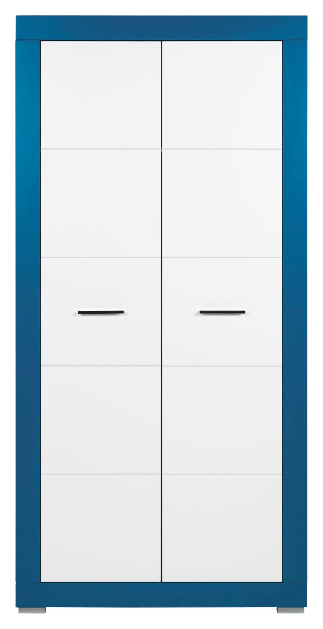 Skříň Derby - bílá/tyrkysová, Moderní, dřevěný materiál (96/196/56cm)