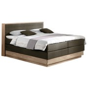 Boxspringbett mit Topper 160x200 cm Moneta - Eichefarben/Schwarz, MODERN, Holz/Textil (160/200cm) - MID.YOU