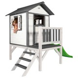 Spielhaus Sunny Lodge XL Weiß/grau - Schwarz/Weiß, Holz (260/190/167cm)