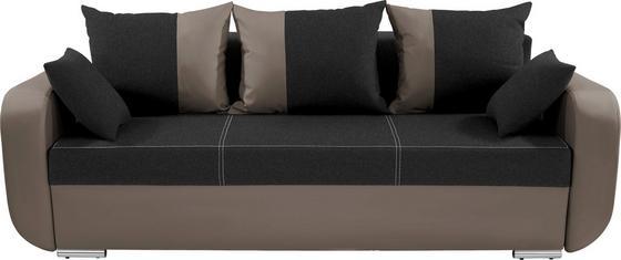 Dreisitzer-sofa Faro - Chromfarben/Schlammfarben, KONVENTIONELL, Holz/Textil (225/90/92cm)