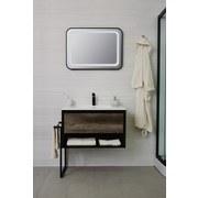 Badezimmerspiegel Soho B: 60/80 cm Schwarz - Schwarz, Basics, Glas/Metall (60/80/3,5cm)
