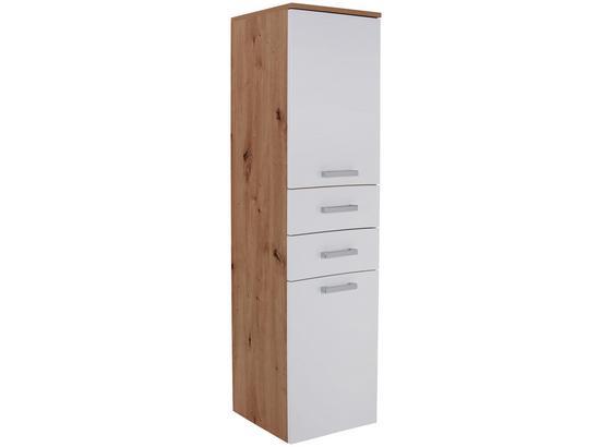Midischrank Rimini B:38cm Weiß/ Artisan Dekor - Eichefarben/Weiß, KONVENTIONELL, Glas/Holzwerkstoff (38/142/33cm)