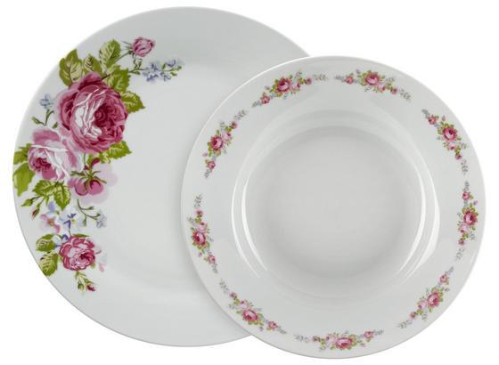 Tafelservice, Penelope 12-tlg. Set, 6 Personen - Pink/Hellblau, ROMANTIK / LANDHAUS, Keramik - James Wood