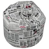 Sitzsack Jamie Newspaper - Rot/Schwarz, MODERN, Textil (110/75/75cm)