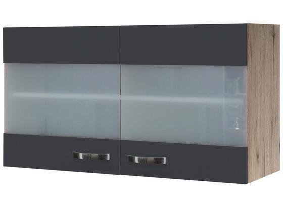 Hängeschrank Shadow   Hgh100 - Eichefarben/Grau, MODERN, Glas/Holzwerkstoff (100/54/32cm)