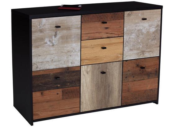 Komoda Sanne Sqnk233 - farby dubu/čierna, Moderný, kov/kompozitné drevo (114,1/77,5/29,6cm)