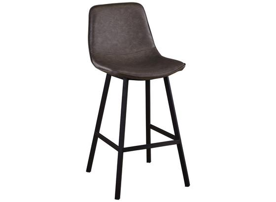 Barhocker Erich - Schwarz/Grau, MODERN, Textil/Metall (48/105/55cm)
