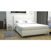 Polsterbett im Lederlook 180x200cm Capri, Weiß - Schwarz/Weiß, MODERN, Holz/Textil (193/120/212cm)