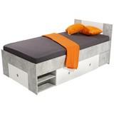 Postel Azurro 90 - bílá/světle šedá, Moderní, dřevěný materiál (204/75/95cm)