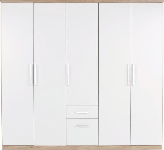Kleiderschrank Wien 226cm - Eichefarben/Weiß, KONVENTIONELL, Holzwerkstoff (226/212/54cm)