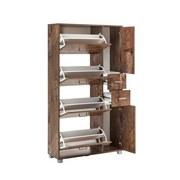 Schuhschrank Pisa - Eichefarben/Silberfarben, Basics, Holzwerkstoff (88,4/163,7/30cm) - MID.YOU