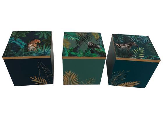 Dekobox Jungle 3sort. Designs - Türkis/Blau, LIFESTYLE, Holzwerkstoff (9/9/9cm) - Luca Bessoni