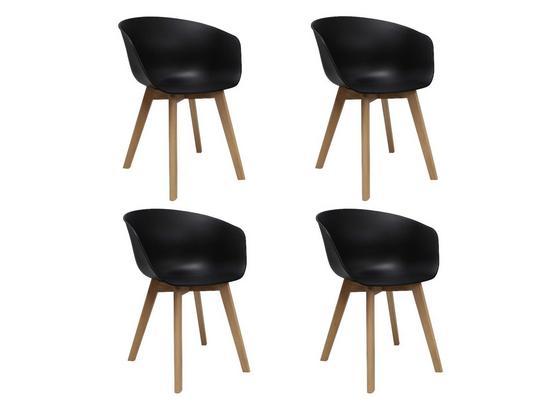 Stuhl-Set Noan 4-Er Set Schwarz - Schwarz/Naturfarben, MODERN, Holz/Kunststoff (60/78,5/44cm) - Livetastic