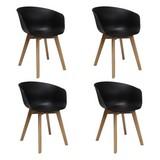 Stuhl-Set Noan 4-Er Set Schwarz - Schwarz/Naturfarben, MODERN, Holz/Kunststoff (60/78,5/44cm) - MID.YOU