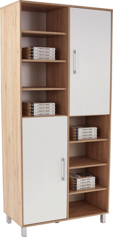 Polc Box - Tölgyfa/Fehér, modern, Faalapú anyag (98/205/40cm)