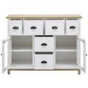Komoda Nicolo - bílá/hnědá, Moderní, dřevo/sklo (105/80/34cm) - Modern Living