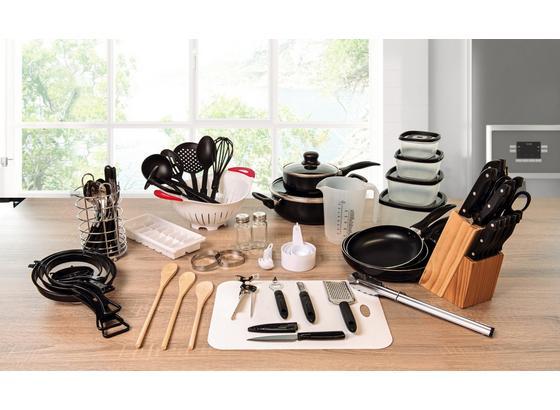 Küchen-Starterset 80 teilig - Silberfarben/Schwarz, Basics, Glas/Kunststoff (50/30/31.5cm)