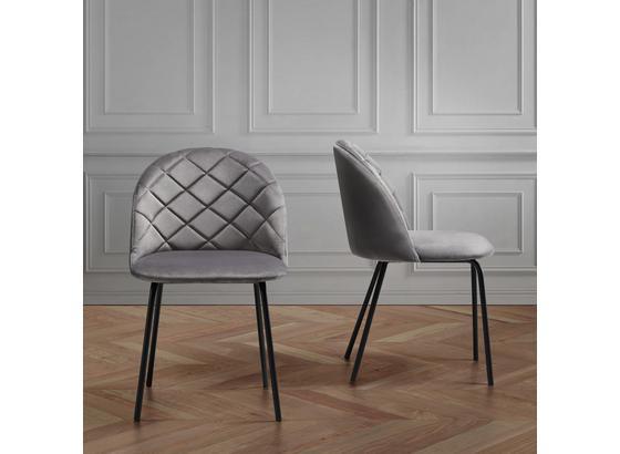 Židle Selina - šedá/černá, Moderní, kov/dřevo (48,5/78/54cm) - Mömax modern living
