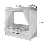 Himmelbett Ausziehbar Massiv 90x200 Lino, Weiß/ Beige - Beige/Weiß, MODERN, Holz (90/200cm) - Livetastic