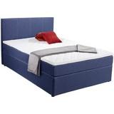 Boxbettt mit Topper 140x200cm Carolina, Blau - Blau/Schwarz, KONVENTIONELL, Holz/Textil (143/105/209cm) - Carryhome