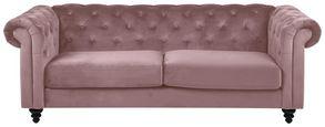 Chesterfield-Sofa Charlietown Samt - Schwarz/Altrosa, KONVENTIONELL, Textil (219/88/78cm) - Carryhome